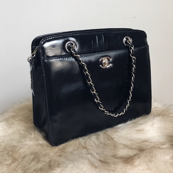 CHANEL Bags   Authentic Patent Leather Handle Purse   Poshmark 97395845dc